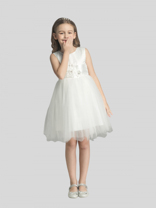 Olivia Sleeveless Satin Flower Girl Dress