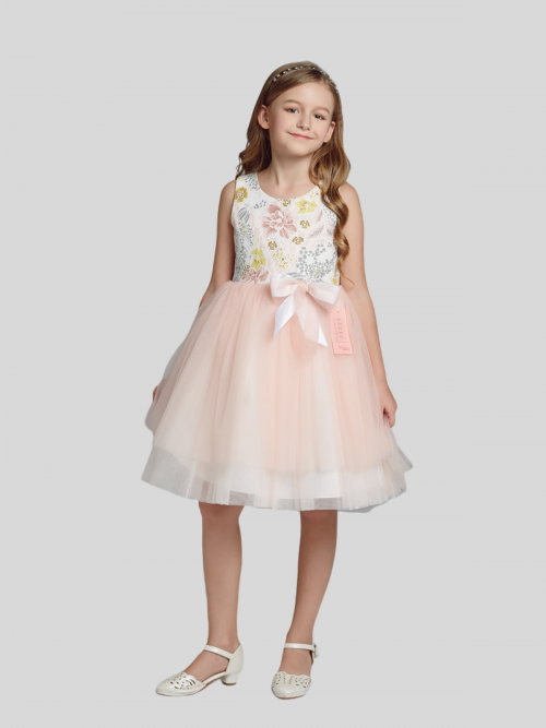 Ava Flower Patterned Flower Girl Dress with Blush Pink Skirt