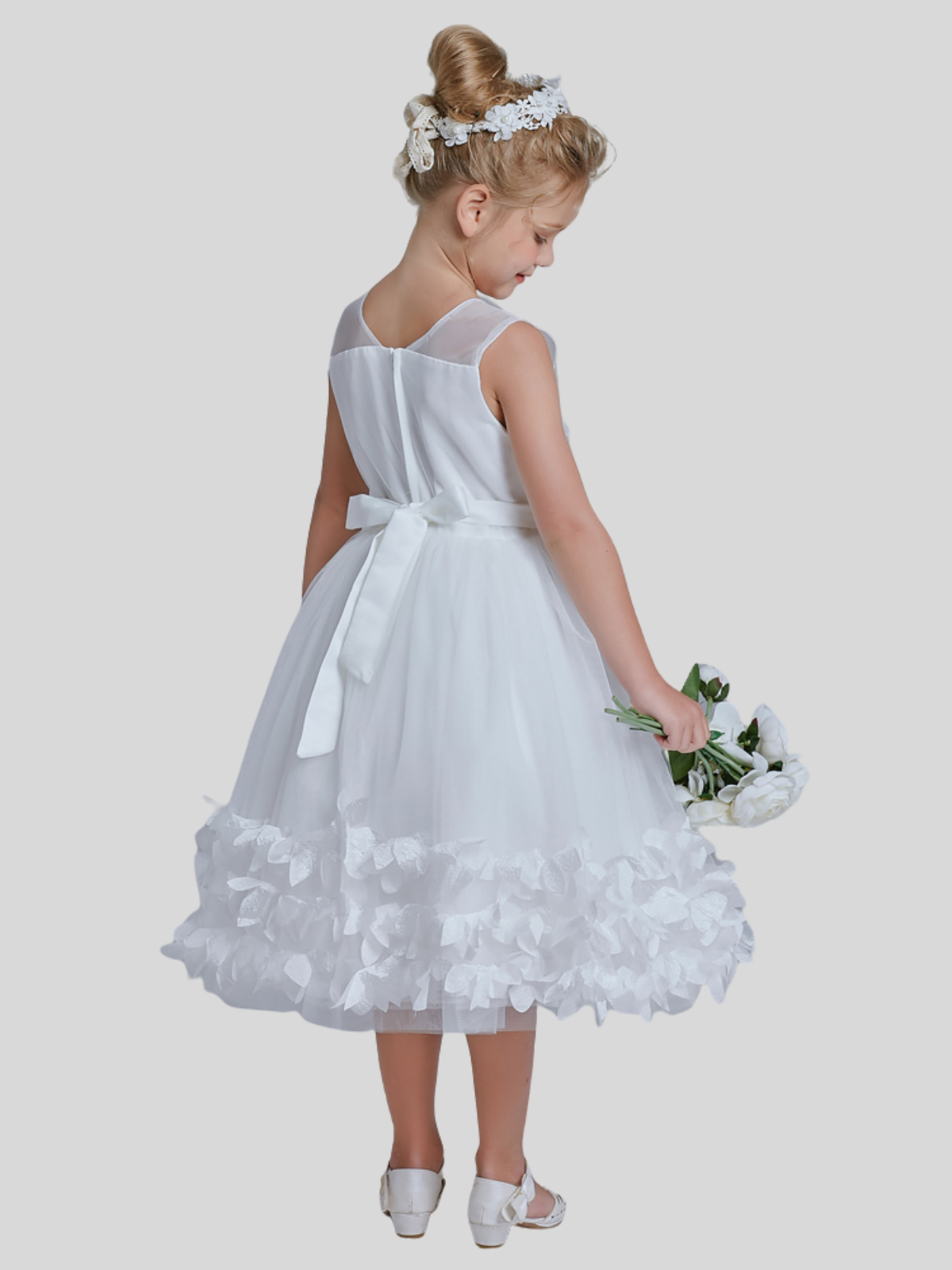 Belle Mid Calf Sleeveless Flower Girl Dress