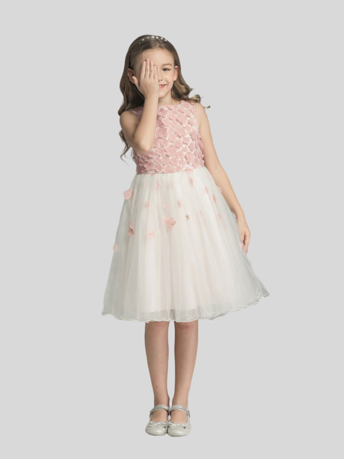 Emma Tulle Skirt Flower Girl Dress with Blush Pink Flowers
