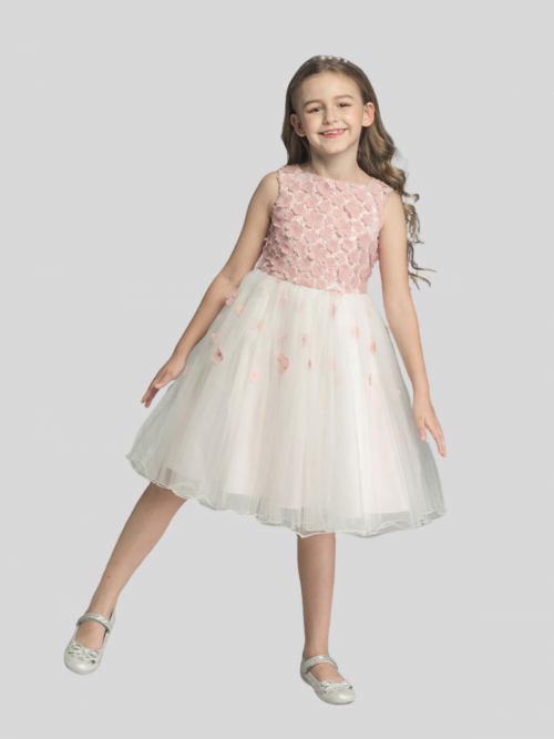 Emma Tulle Skirt Flower Girl Dress with Blush Pink Flowers