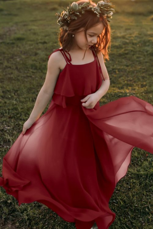 Penny Merlot Bohemian Chiffon Flower Girl Dress