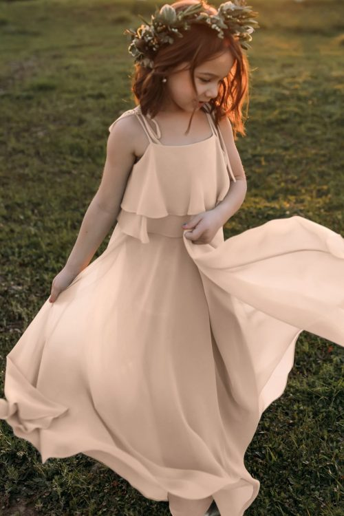 Penny Blush Pink Bohemian Chiffon Flower Girl Dress