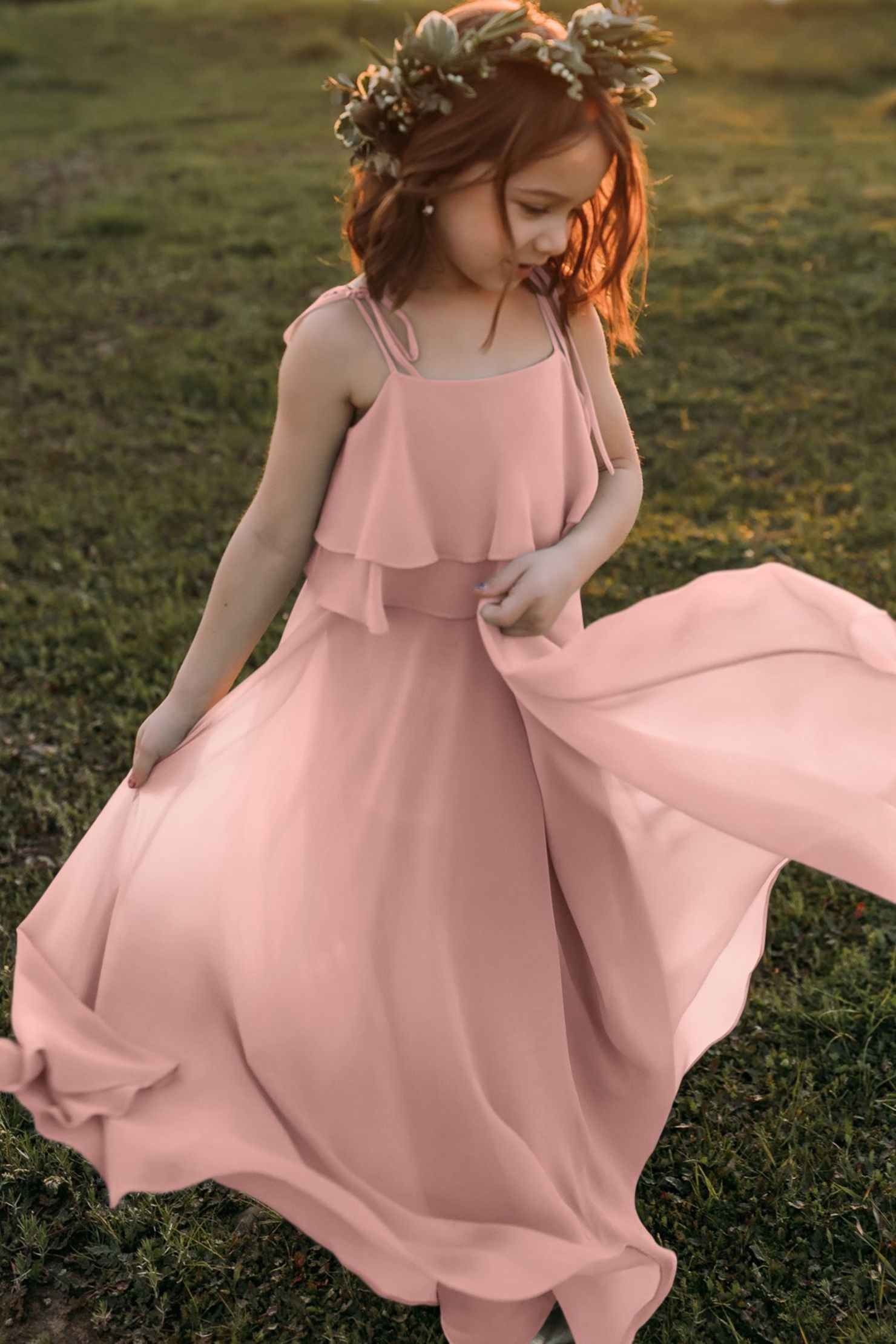 Penny Rosewater Pink Bohemian Chiffon Flower Girl Dress
