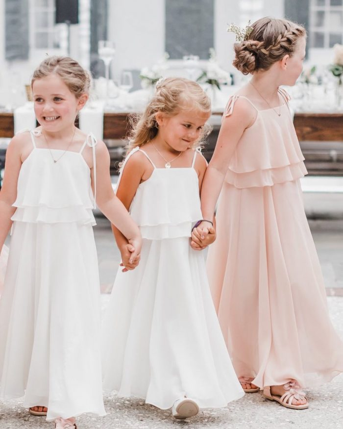 Penny Winter White Bohemian Chiffon Flower Girl Dress