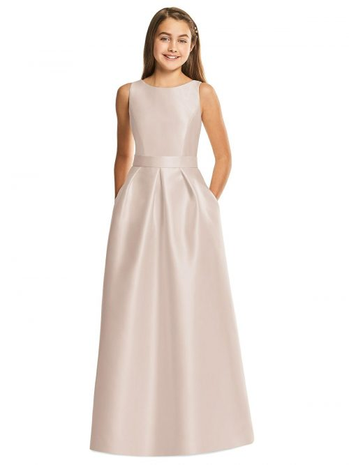 Cameo Pink Satin Pleated Junior Bridesmaids Dress