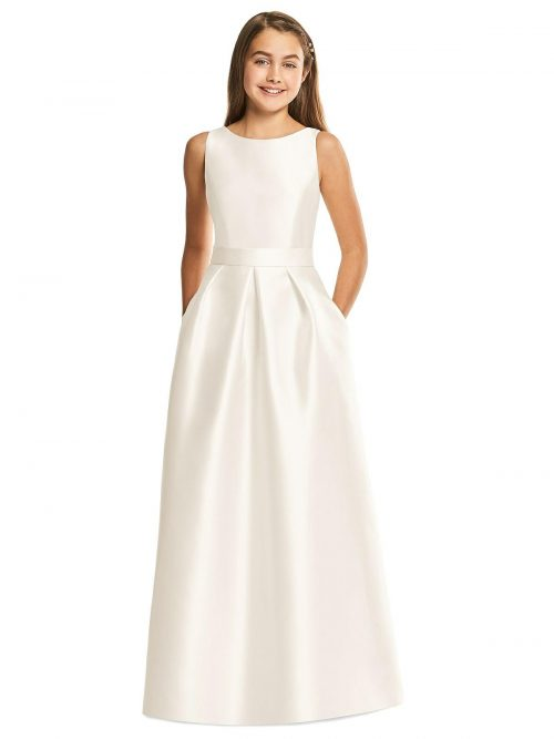 Ivory Satin Twill Diamond Cutout Junior Bridesmaids Dress