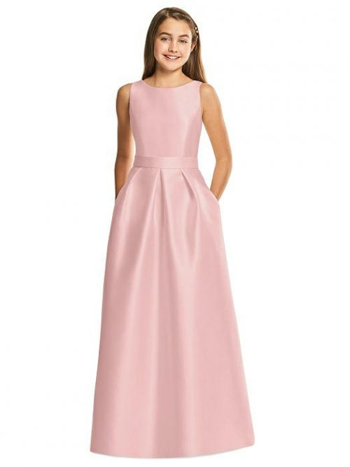 Rose Pink Satin Pleated Junior Bridesmaids Dress