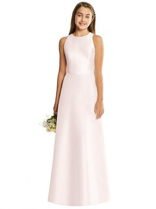Blush Satin Diamond Cutout Junior Bridesmaids Dress