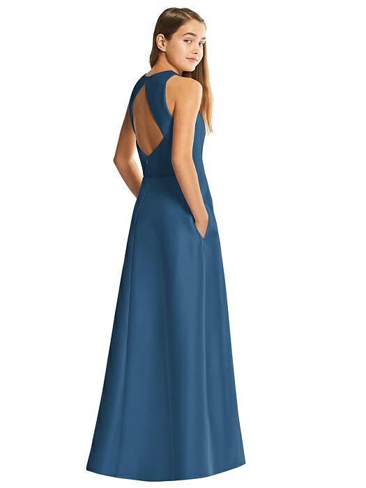 Dusk Blue Satin Diamond Cutout Junior Bridesmaids Dress