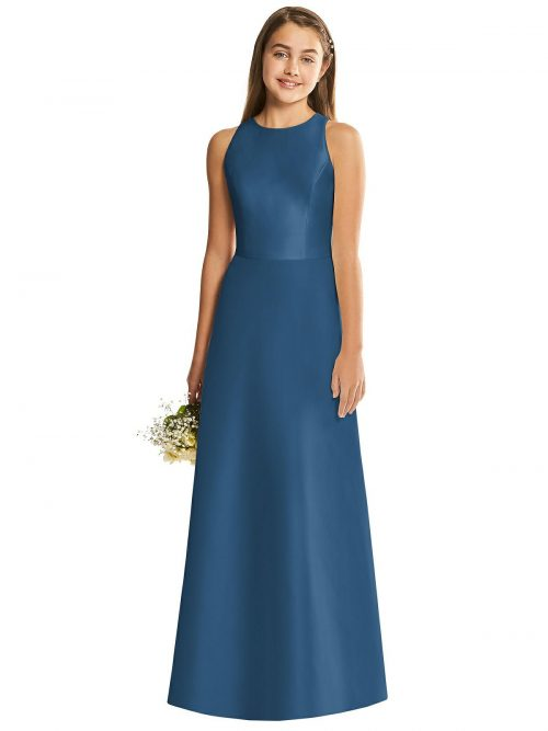 Dusk Blue Satin Diamond Cutout Junior Bridesmaids Dress