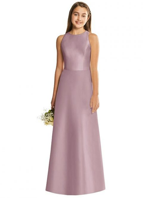 Dusty Rose Satin Diamond Cutout Junior Bridesmaids Dress