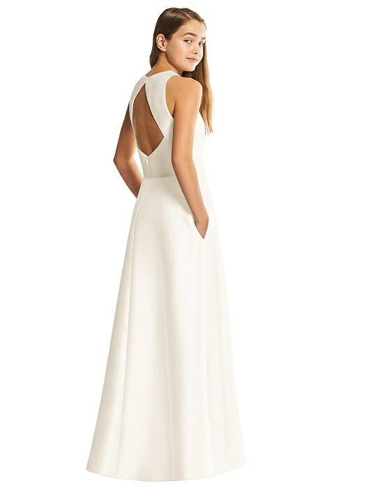 Ivory Satin Twill Diamond Cutout Junior Bridesmaids Dress