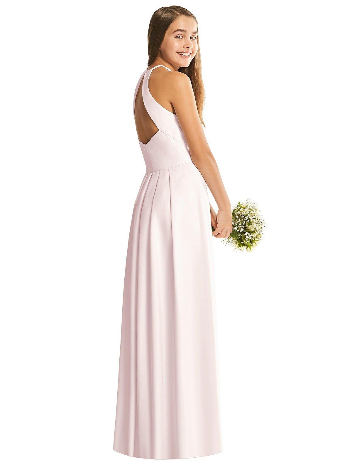 Blush Halter Crepe Junior Bridesmaids Dress