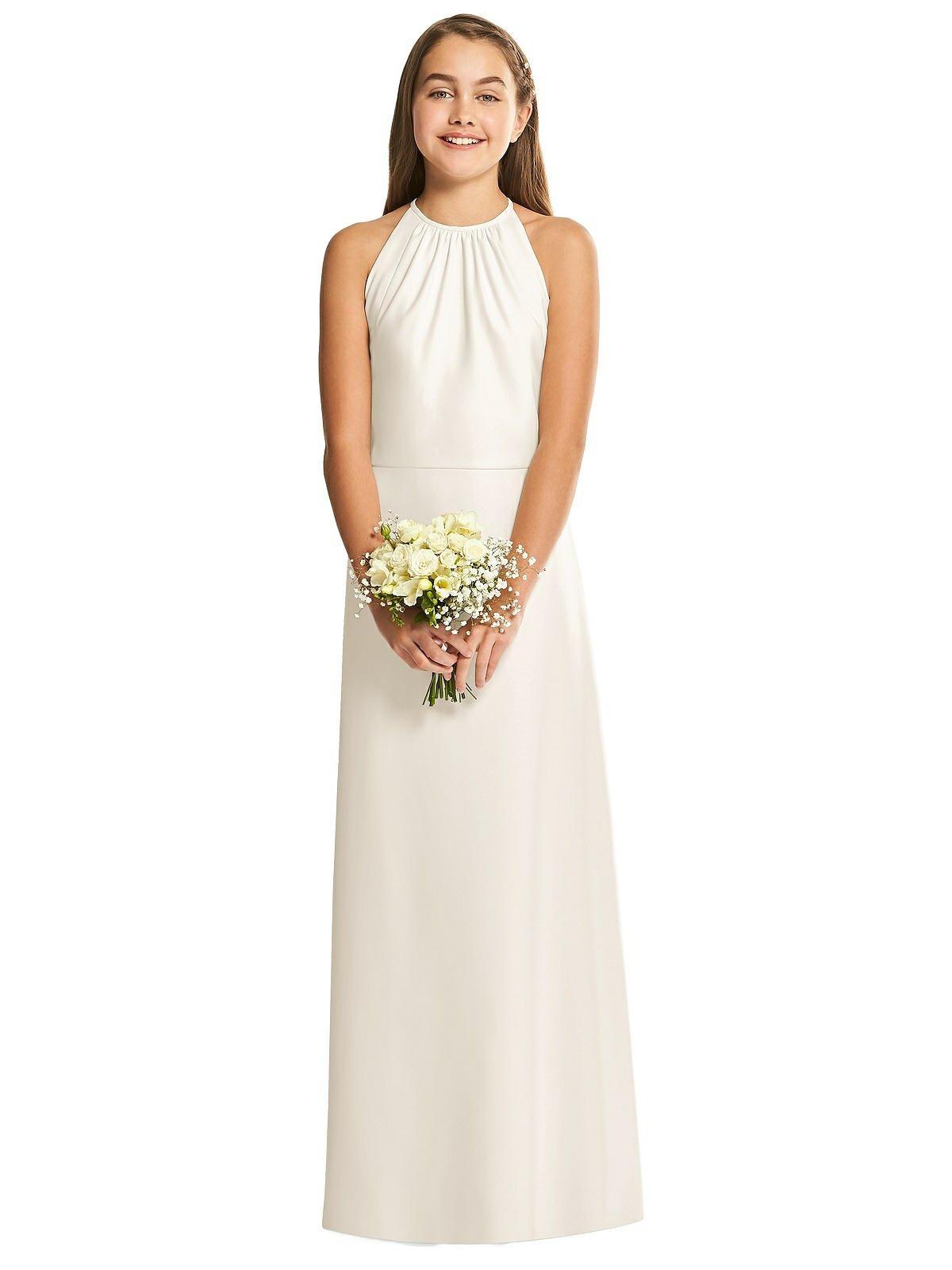 Ivory Halter Crepe Junior Bridesmaids Dress