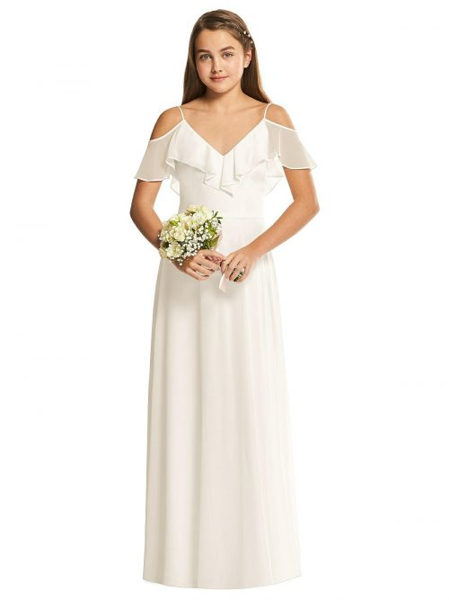Ivory Ruffle Bodice Chiffon Junior Bridesmaids Dress