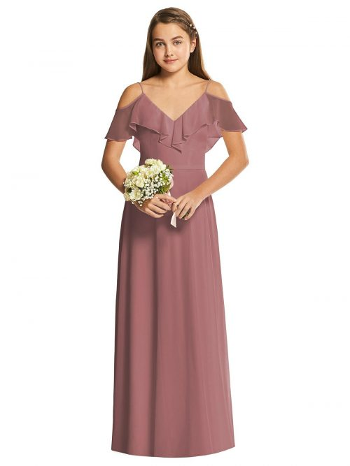 Ruffle Bodice Chiffon Junior Bridesmaids Dress