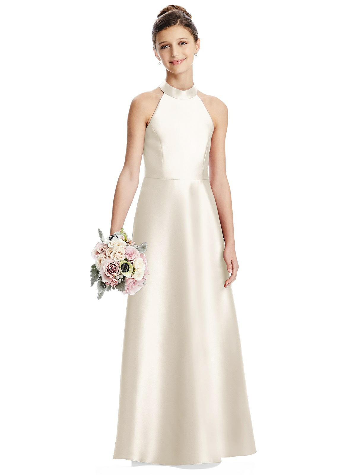 Ivory Satin Halter Neck Junior Bridesmaids Dress