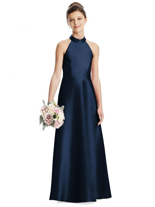 Midnight Blue Satin Halter Neck Junior Bridesmaids Dress