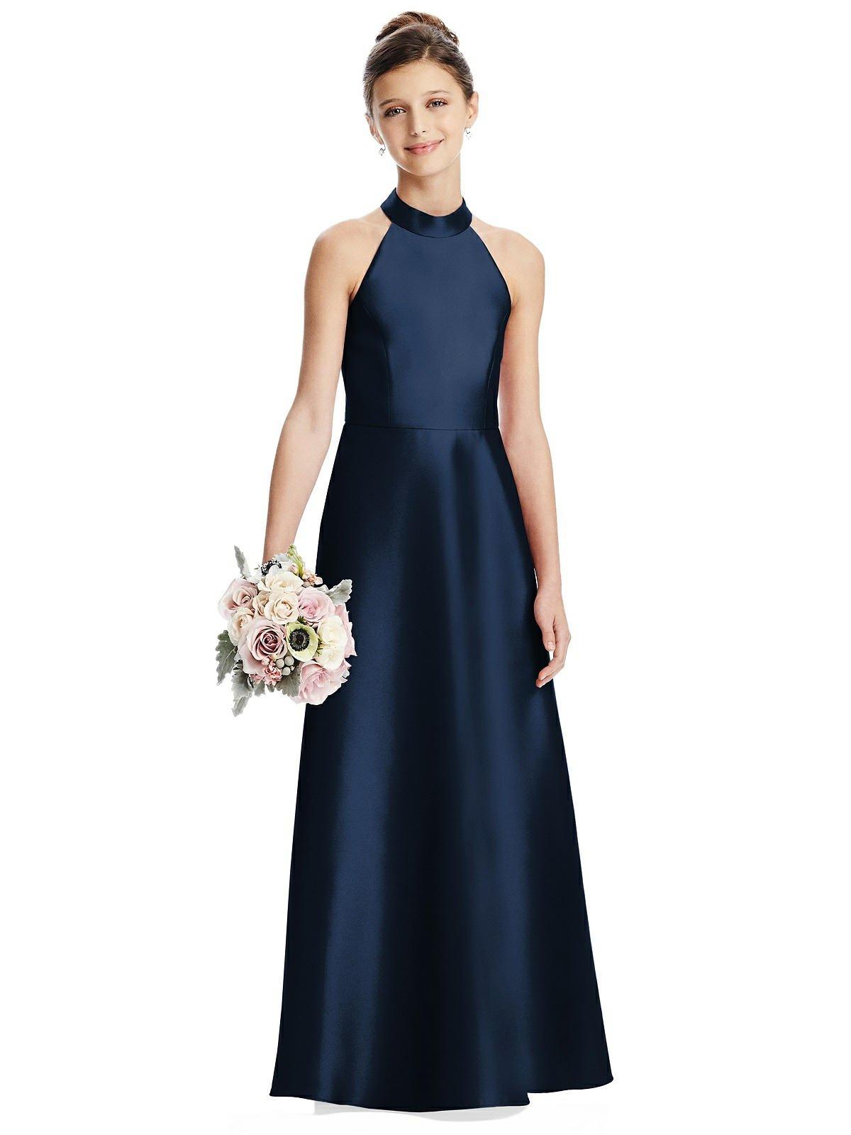 Midnight Blue Satin Halter Neck Junior Bridesmaids Dress