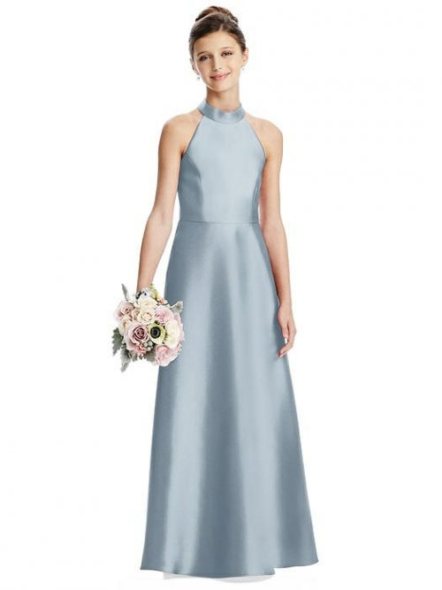 Mist Blue Satin Halter Neck Junior Bridesmaids Dress