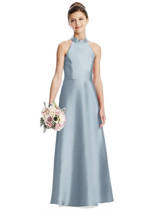 Mist Blue Satin Halter Neck Junior Bridesmaids Dress