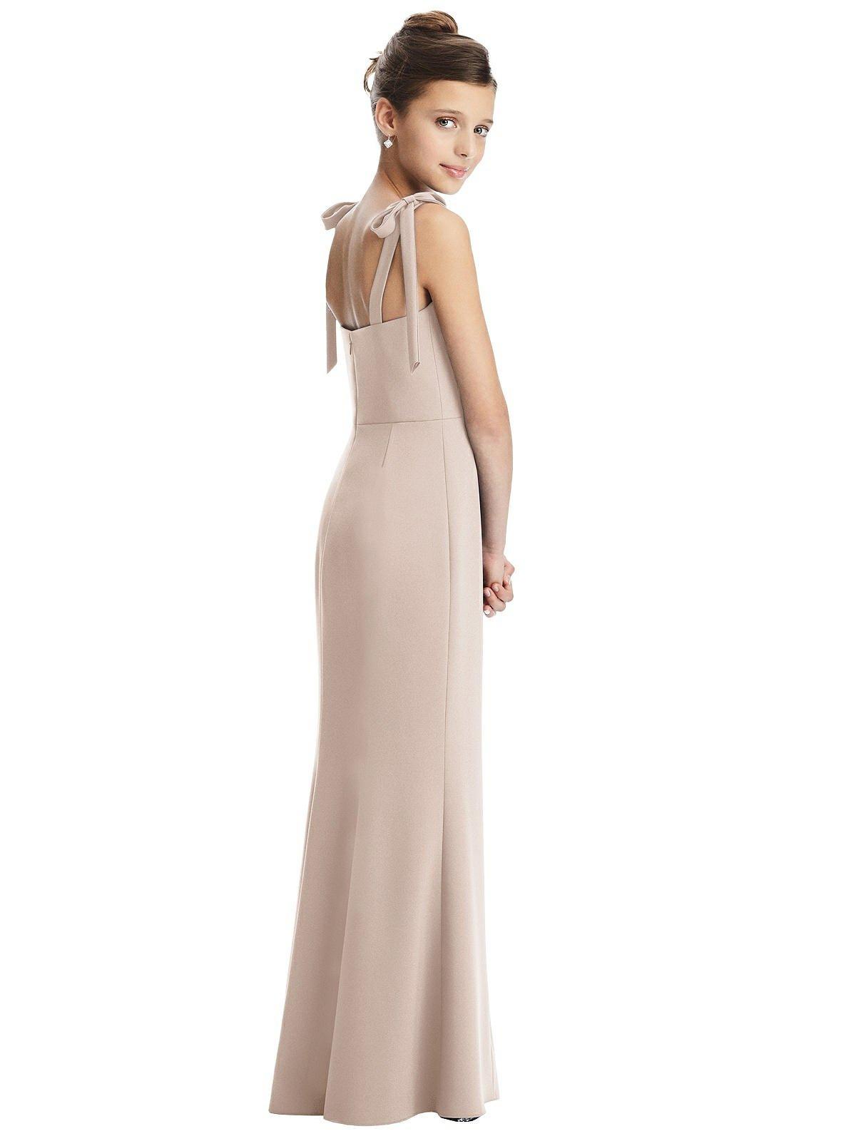 Cameo Bow Strap Crepe Junior Bridesmaids Dress