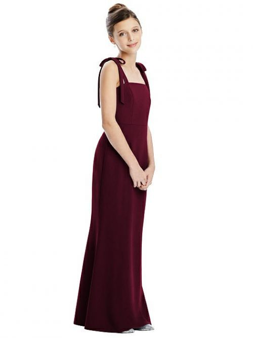 Cabernet Bow Strap Crepe Junior Bridesmaids Dress