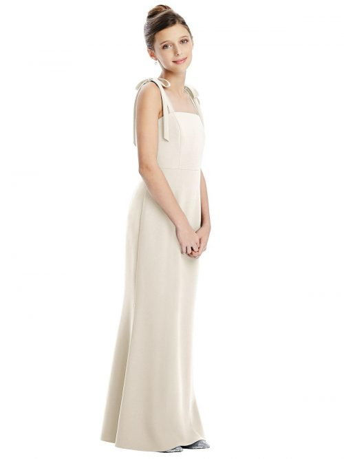 Ivory Bow Strap Crepe Junior Bridesmaids Dress