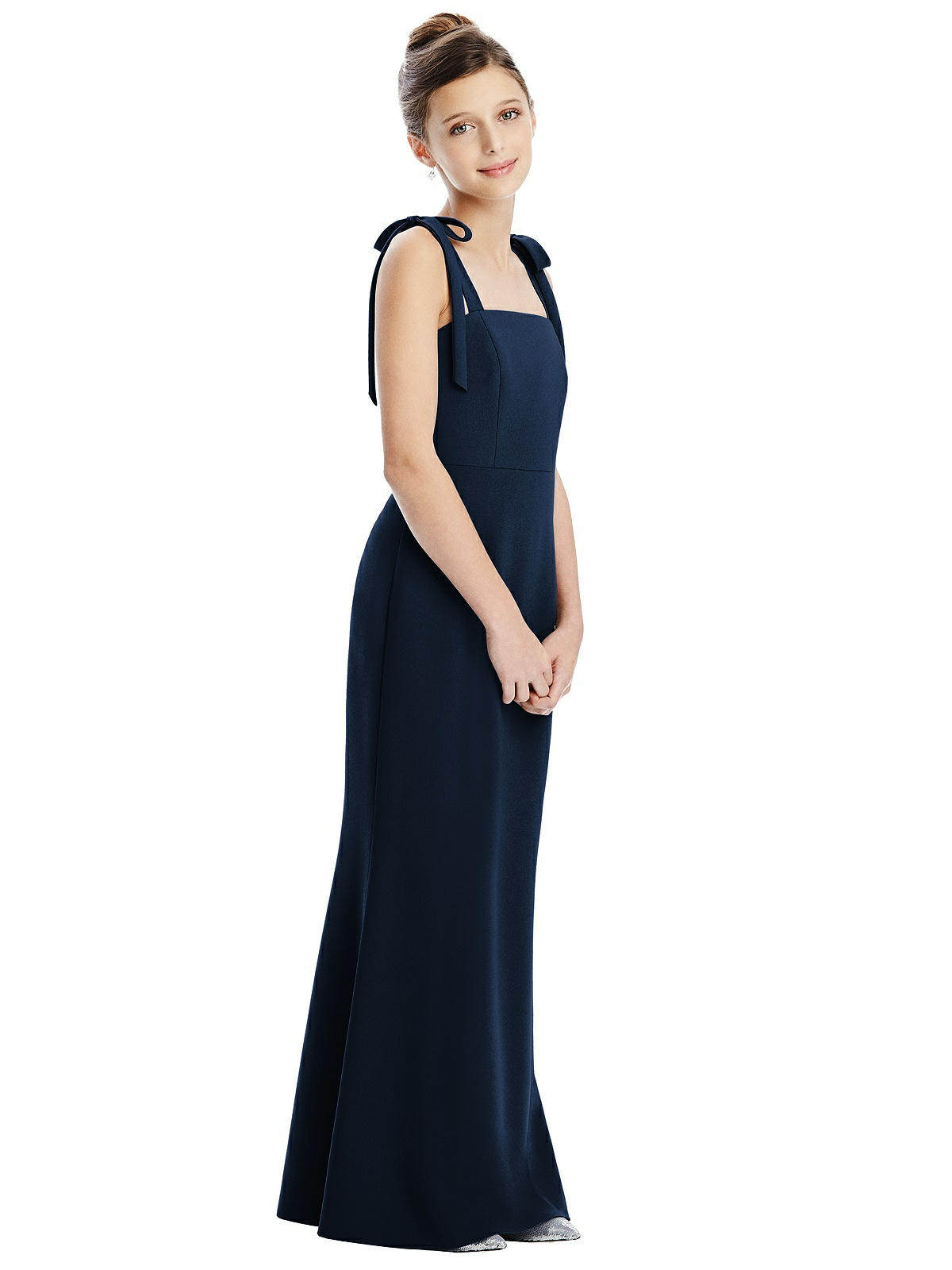 Midnight Blue Bow Strap Crepe Junior Bridesmaids Dress