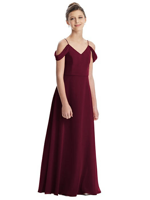 Off Shoulder Chiffon Junior Bridesmaids Dress