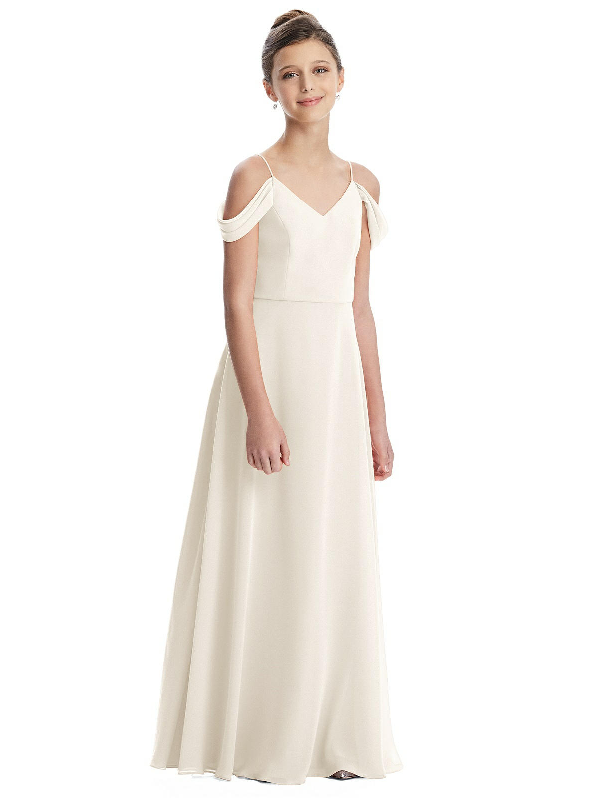Ivory Off Shoulder Chiffon Junior Bridesmaids Dress