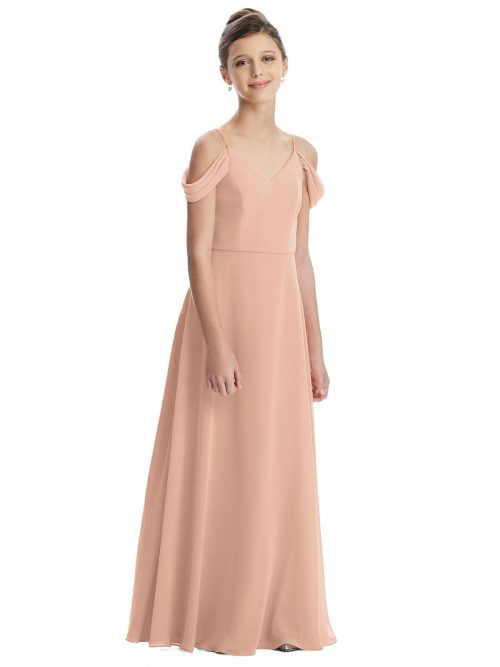 Porcelain Pink Off Shoulder Chiffon Junior Bridesmaids Dress