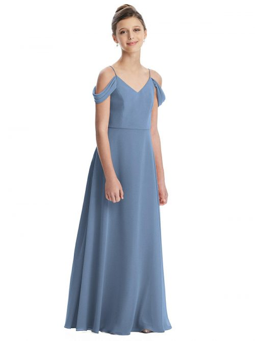 Windsor Blue Off Shoulder Chiffon Junior Bridesmaids Dress