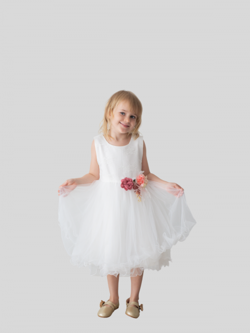 Charlotte Floral Embroidered Tulle Flower Girl Dress