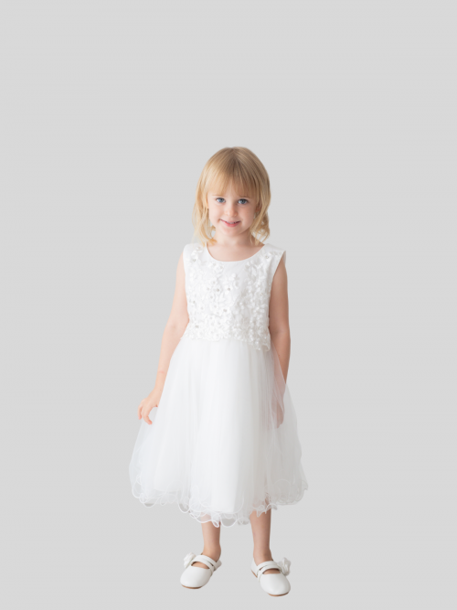 Kira Floral Embroidered Flower Girl Dress