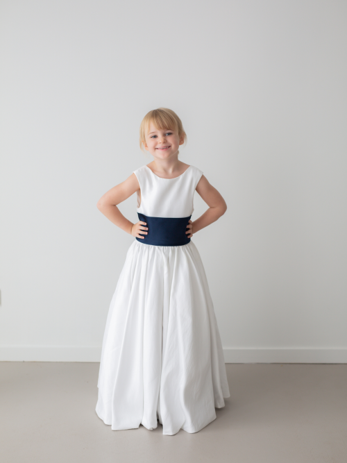 Jade White Princess Satin Flower Girl Dress by Talia Sarah