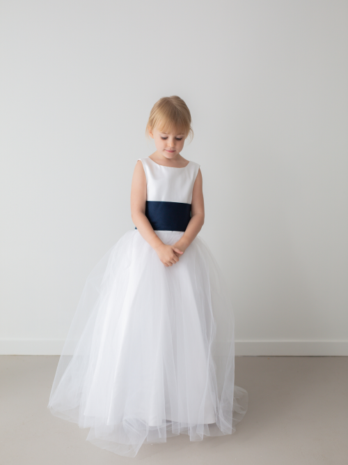 Harper White Princess Satin Flower Girl Dress with Tulle Skirt by Talia Sarah
