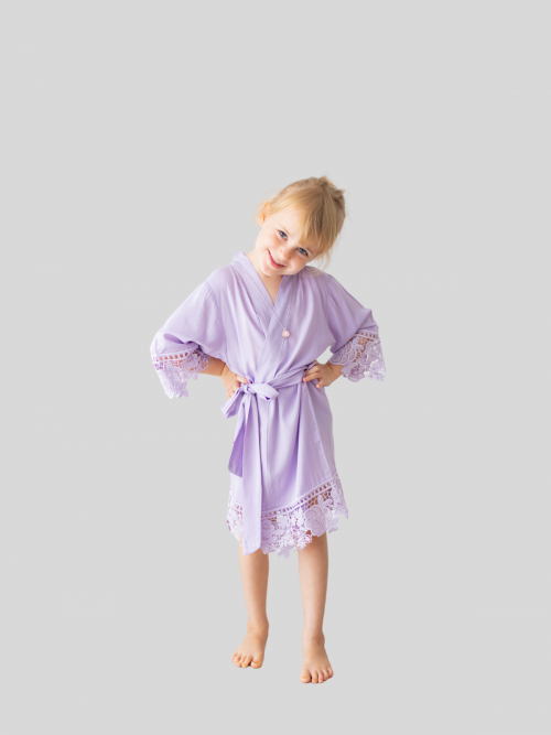 Rosa Lilac Cotton Lace Flower Girl Robe