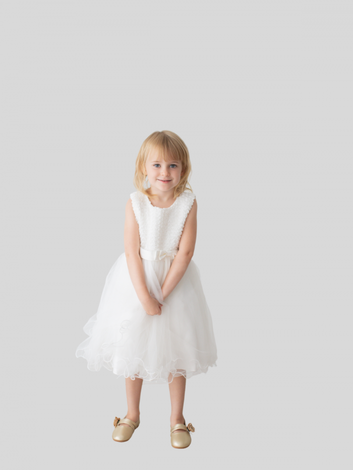Mia Rose Patterned Flower Girl Dress with Satin Bow and Ribbon