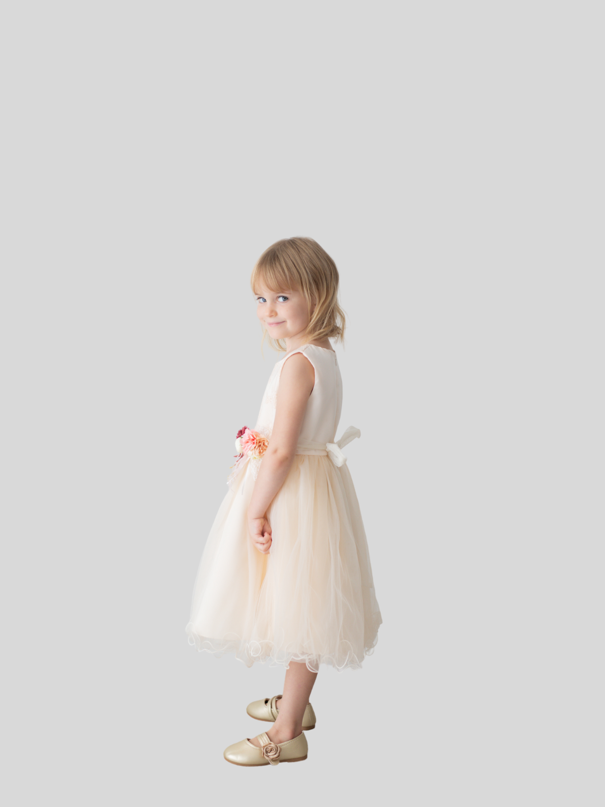 Phoebe Floral Embroidered Tulle Flower Girl Dress in Champagne