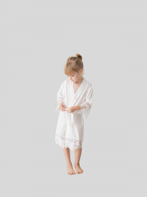 Rosa White Cotton Lace Flower Girl Robe