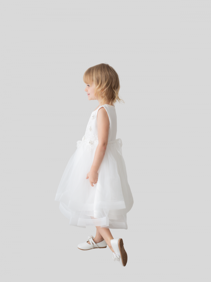 Isabella Floral Embroidered Satin and Tulle Flower Girl Dress