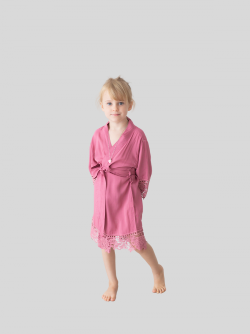 Rosa Dusky Pink Cotton Lace Flower Girl Robe