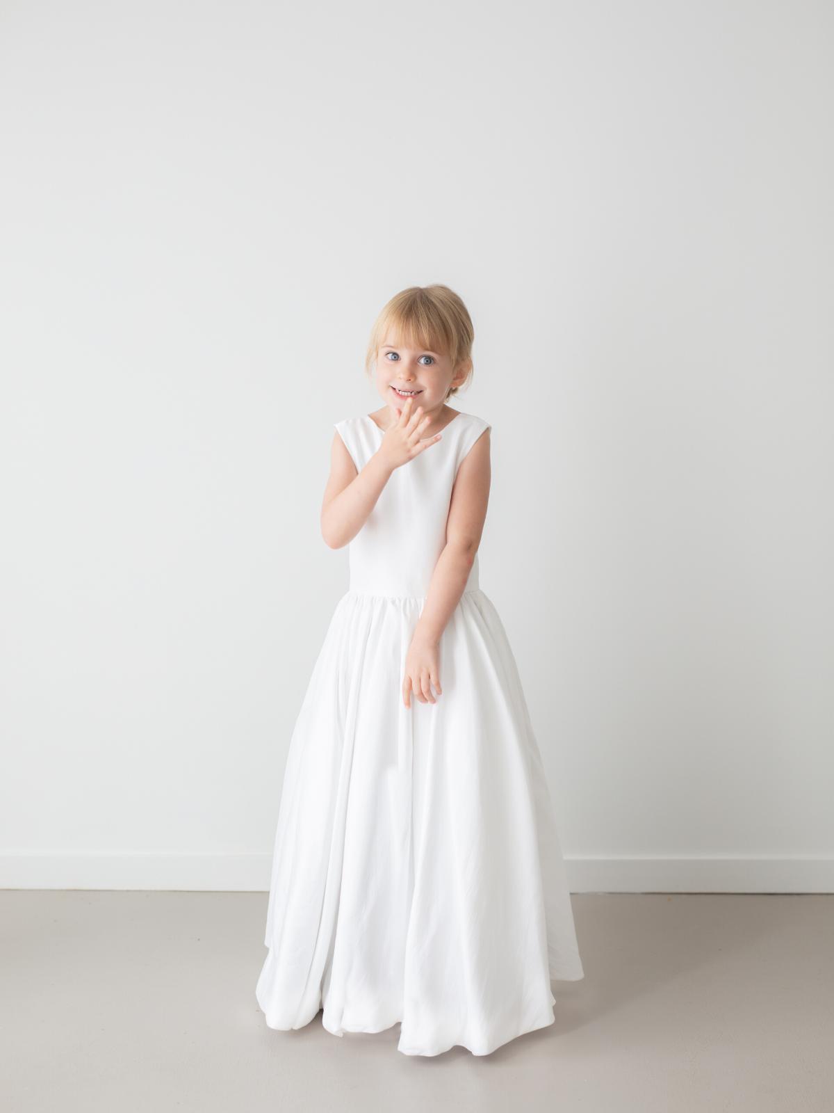 Jade White Princess Satin Flower Girl Dress by Talia Sarah