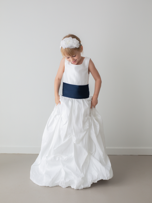 Willow White Ruffle Satin Flower Girl Dress by Talia Sarah