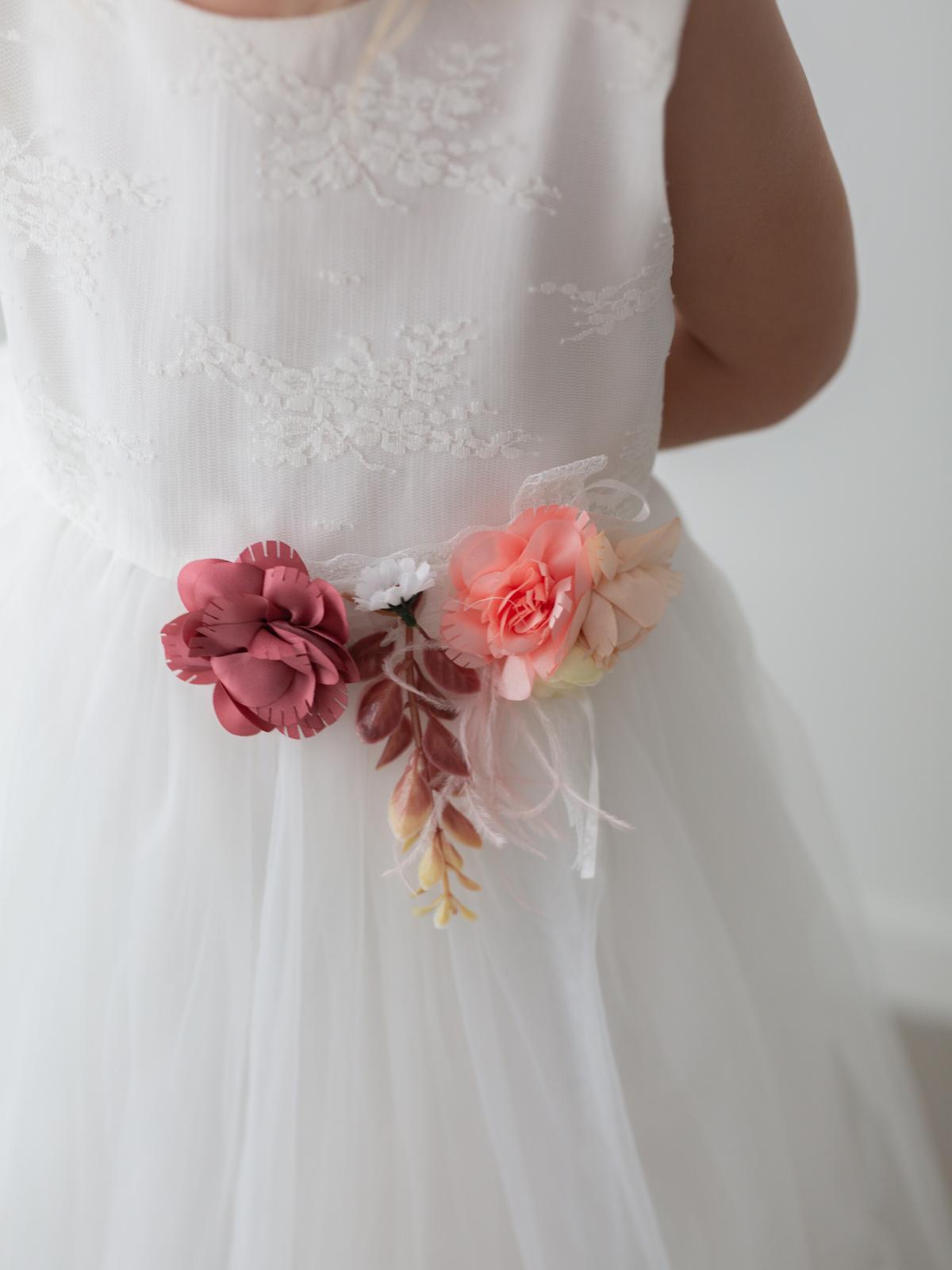 Charlotte Floral Embroidered Tulle Flower Girl Dress