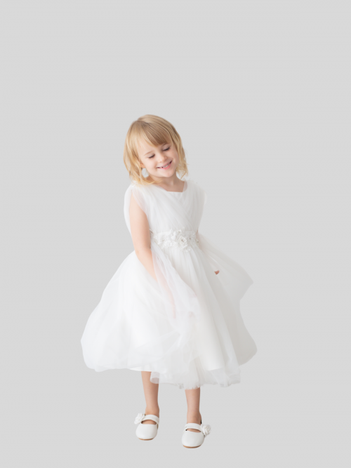 Sophia Soft Tulle Cape Princess Flower Girl Dress
