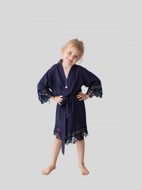 Rosa Navy Cotton Lace Flower Girl Robe