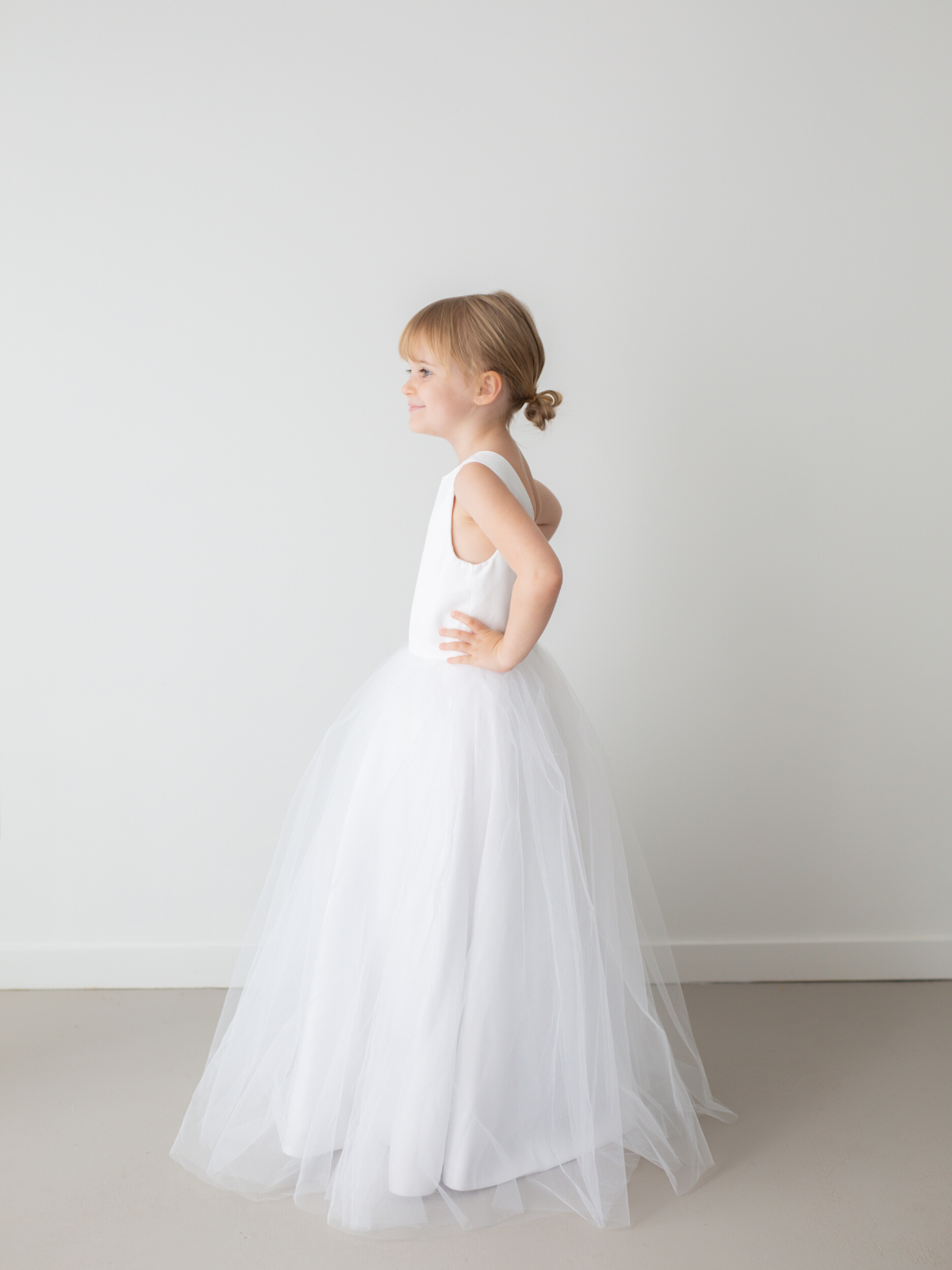 Harper White Princess Satin Flower Girl Dress with Tulle Skirt by Talia Sarah